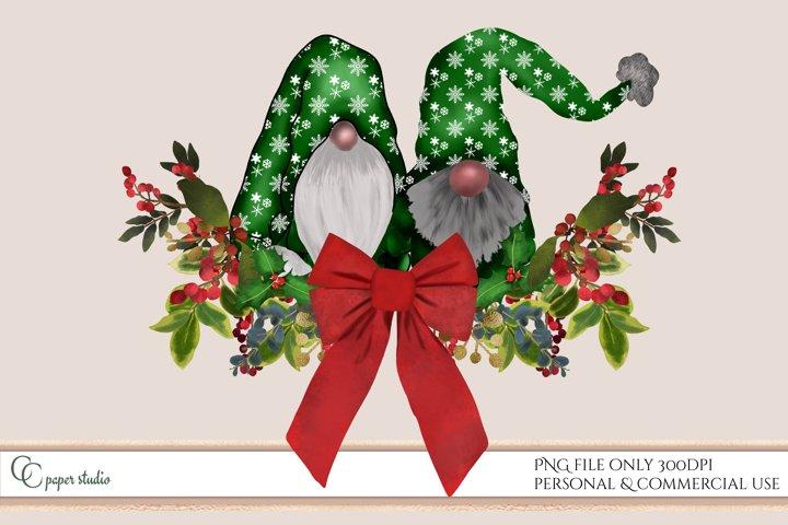 Sublimation design - Gnome illustration Christmas swag green