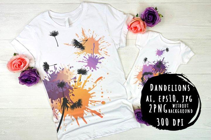 Dandelions. Bright prints