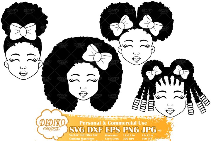 Black Girl Bundle SVG | Afro Girl with Bow| Silhouette File