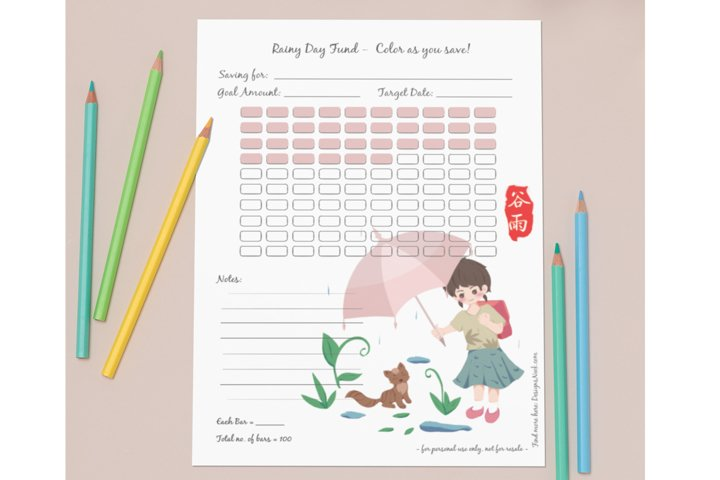Rainy Day Fund, put your own amount - Savings Tracker