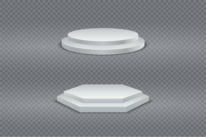 Podium 3D. White round and hexagonal two-stage podium, pedes