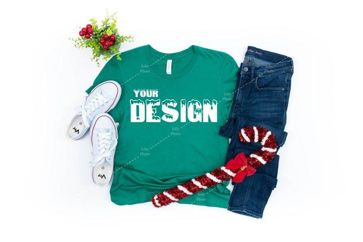 Bella Canvas 3001 Kelly Green T-shirt Mockup Unisex