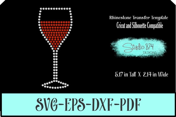 Wine Glass Rhinestone SVG Template R1 - Add ON