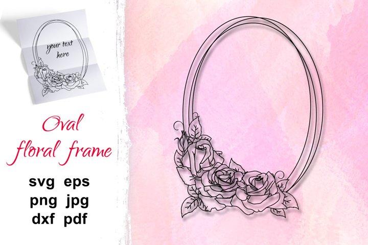 Flower Wreath SVG, rose flower frame svg, wedding invitation