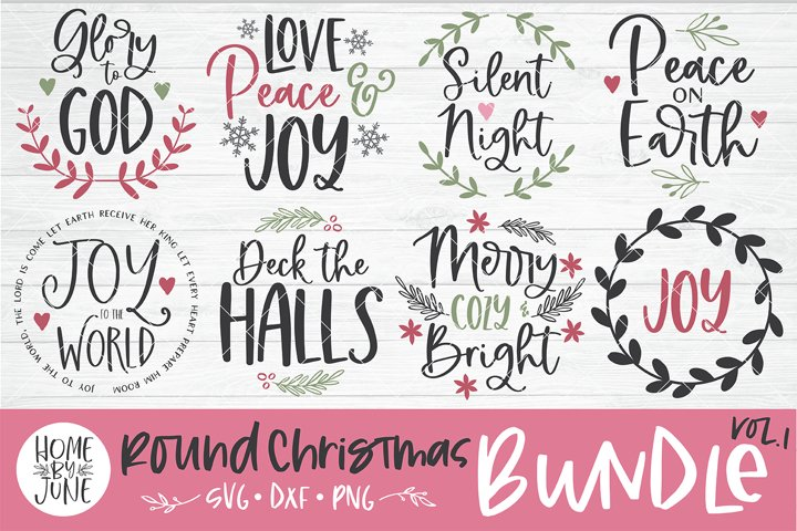Christmas Round/Circle Sign Bundle Vol. 1 SVG DXF PNG
