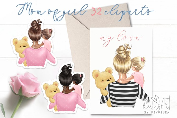 Mothers Day Mom Daughter clipart
