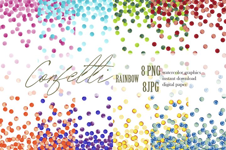 Confetti digital paper Watercolor Rainbow dots clipart PNG