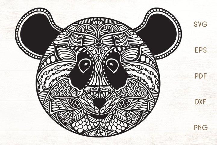 Zentangle Panda Head SVG - Doodle Art Panda