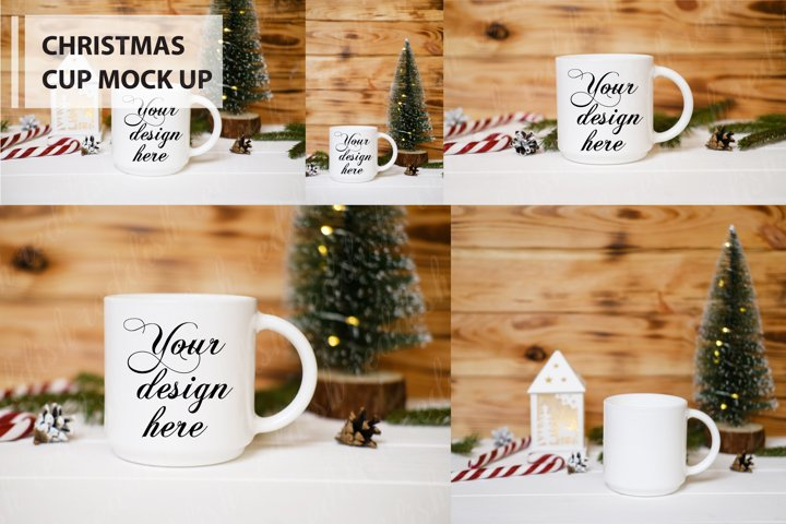 5 White Cup Mock-up , Christmas decorations, candles, tree