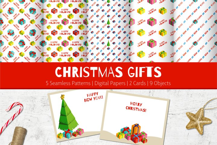 Christmas Gifts | Patterns | Cards | Isometric Objects