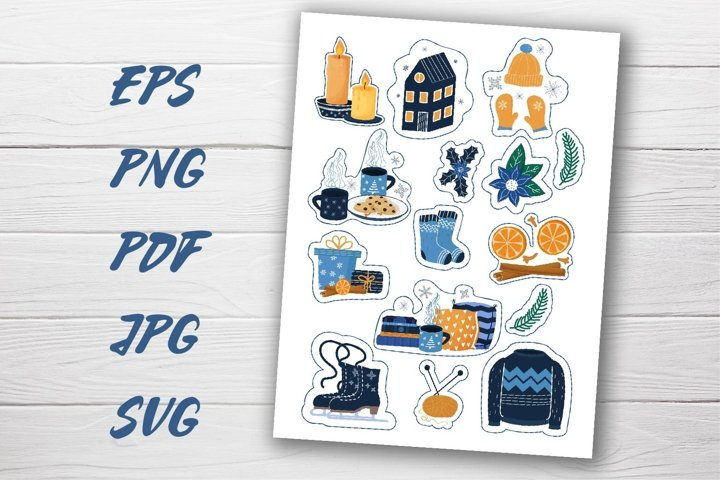 Printable Sticker collection Hygge Winter PNG, SVG, PDF example 1