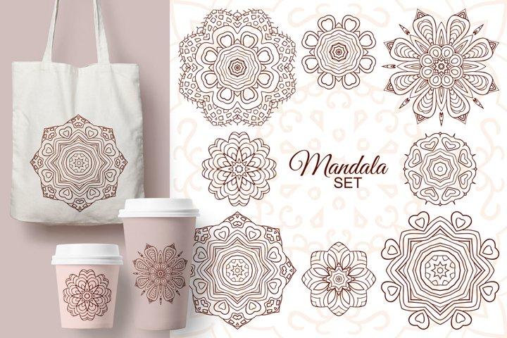 Mandala set. Round decorative ornaments for creativity