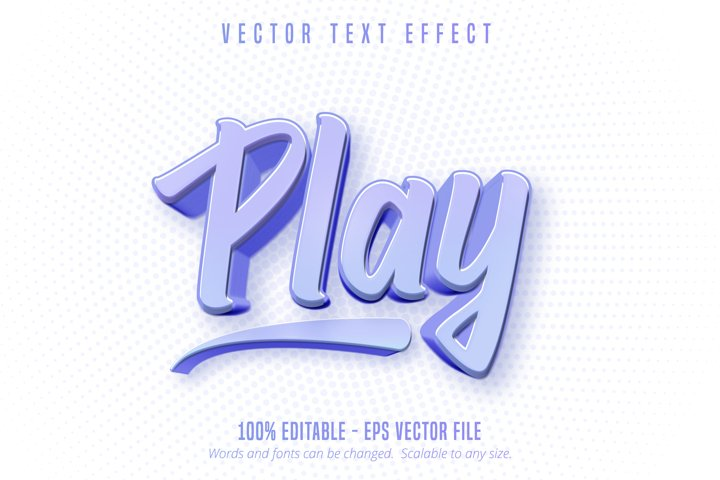 Play text, game style editable text effect
