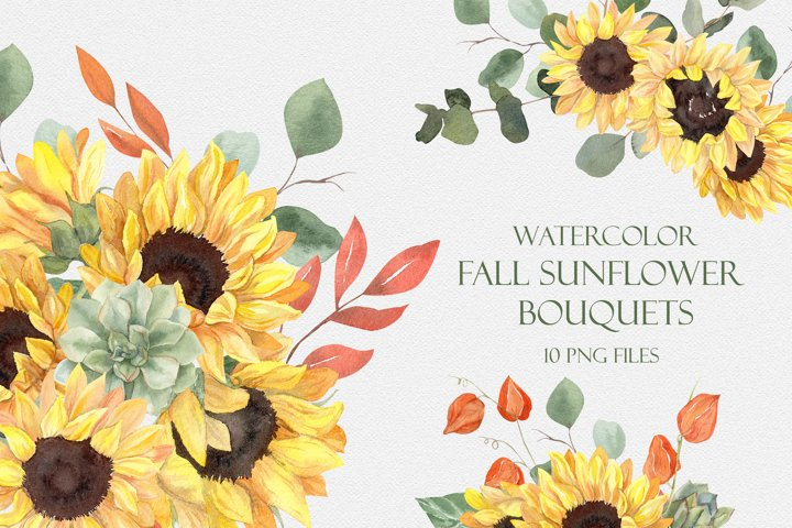 Watercolor Fall Sunflower Bouquets