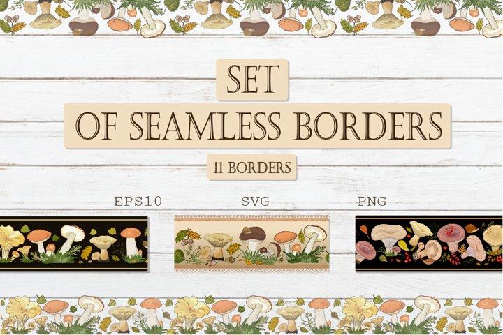 Seamless autumn horizontal borders