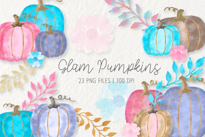 Watercolor Glam Pumpkins Clipart Set
