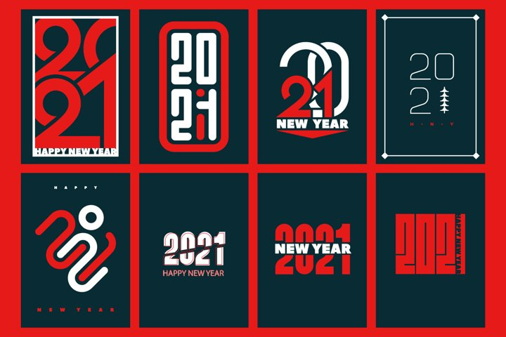 Set Happy new year 2021 posters