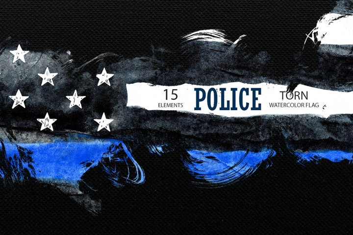 Police. Torn flag. Watercolor.