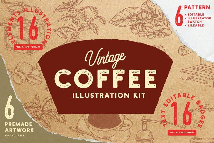 Vintage Coffee Illustration Kit