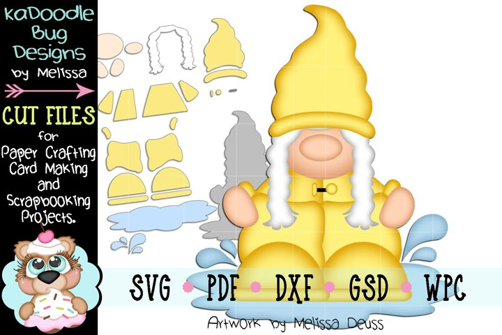 Rain Boot Gnome Peeker Cut File - SVG PDF DXF GSD WPC