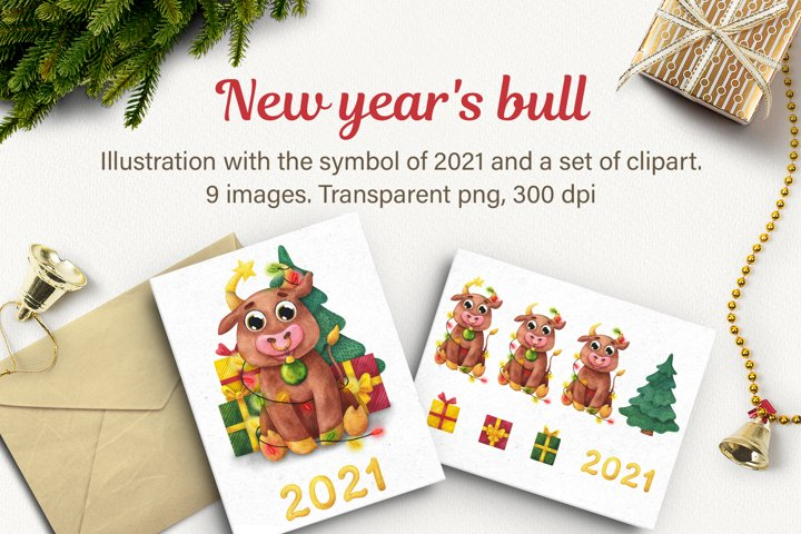 New years bull. Watercolor Cute Bulls clipart,