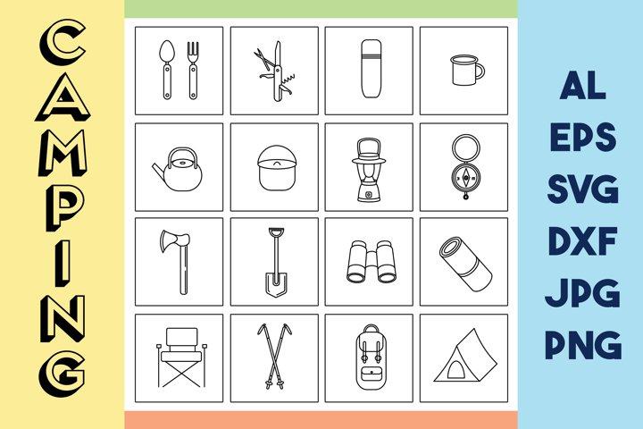 Camping icon set | Camping SVG | Hiking icons