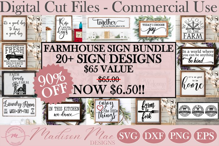 Farmhouse Sign Making Bundle - 20 Designs, Home Decor SVG