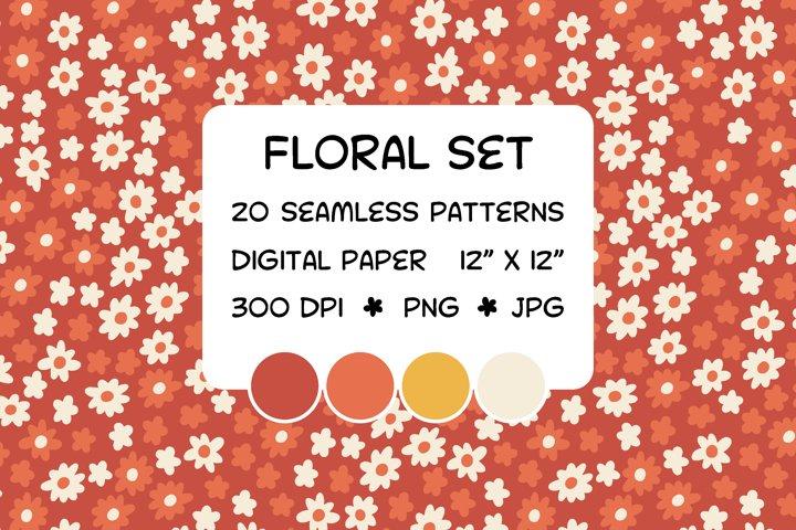 Floral set - seamless patterns - digital paper