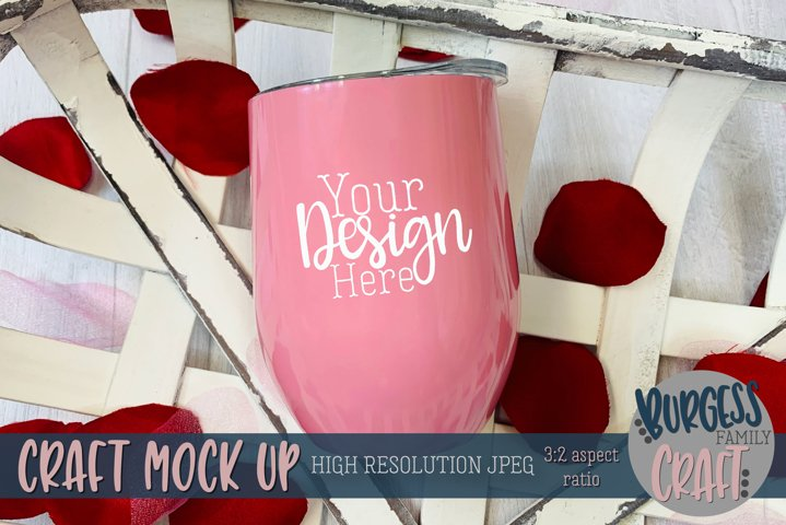 Valentine pink wine tumbler Craft mock up example
