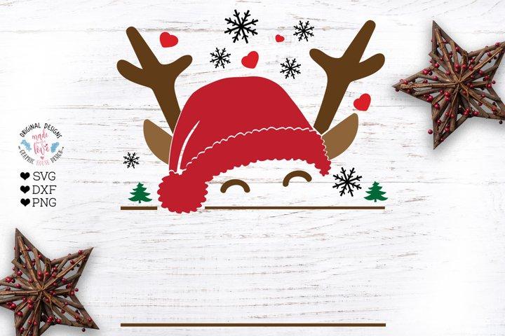 Santa Reindeer Name and Monogram Frame