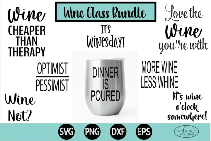 Wine Glass Bundle SVG, Wine glass cut files, Wine SVG bundle