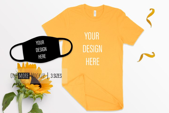 Face Mask and Tshirt Mockup | Bella Canvas 3001 Gold