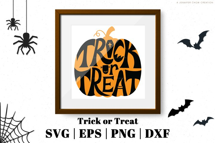 Trick or Treat SVG Pumpkin Shaped Lettering
