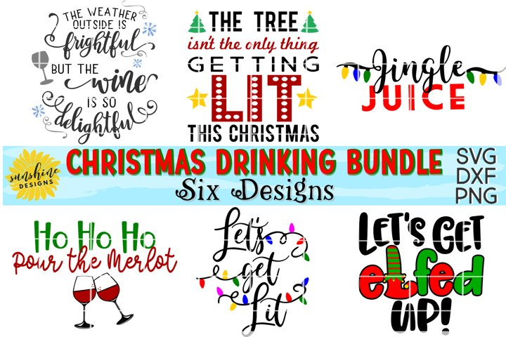 CHRISTMAS DRINKING / WINE BUNDLE SVG DXF PNG