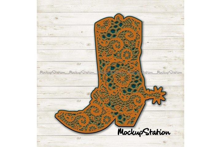 Cowboy Boot 3D Mandala SVG | Southern Western Lace Cut File