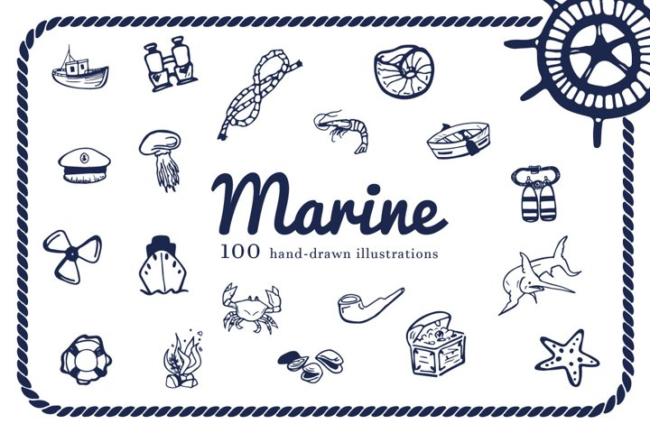 Hand Drawn Illustrations -Marine-