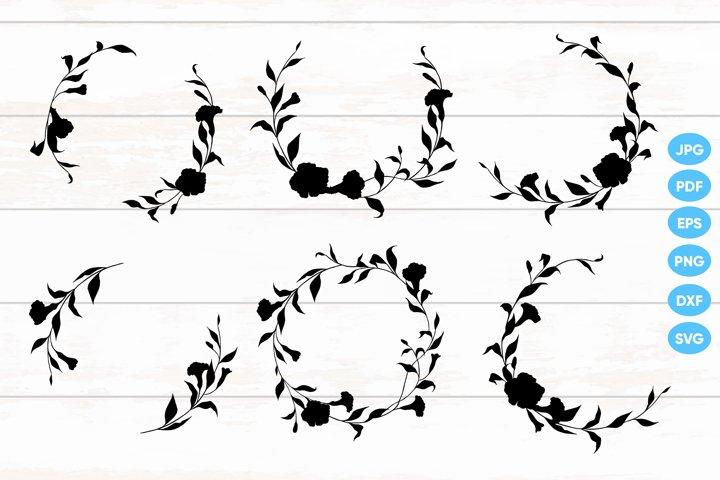 Floral Hand Drawn Wreaths SVG