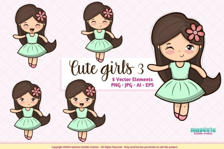 Cute Girls Cliparts Prints Set