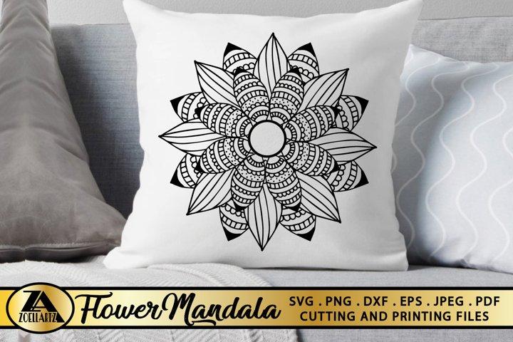 Hand-Drawn Flower Mandala SVG Floral Mandala SVG Cut Files