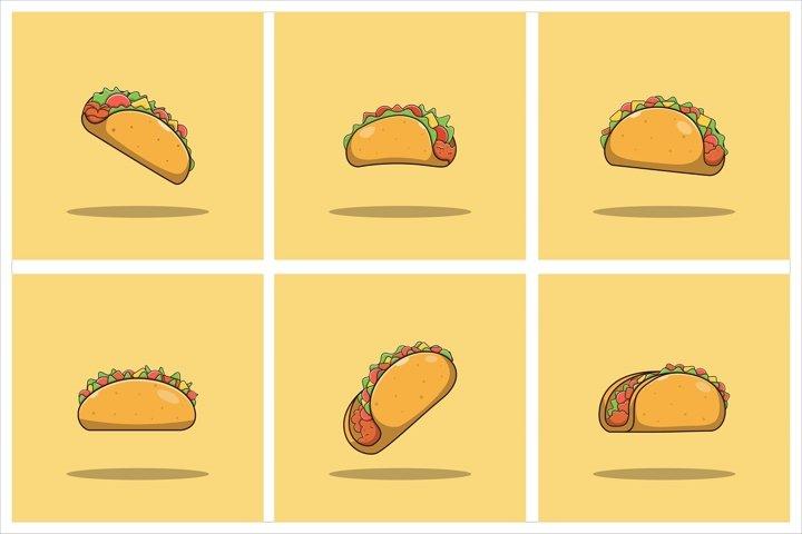Taco Vector Set Flat Illustration