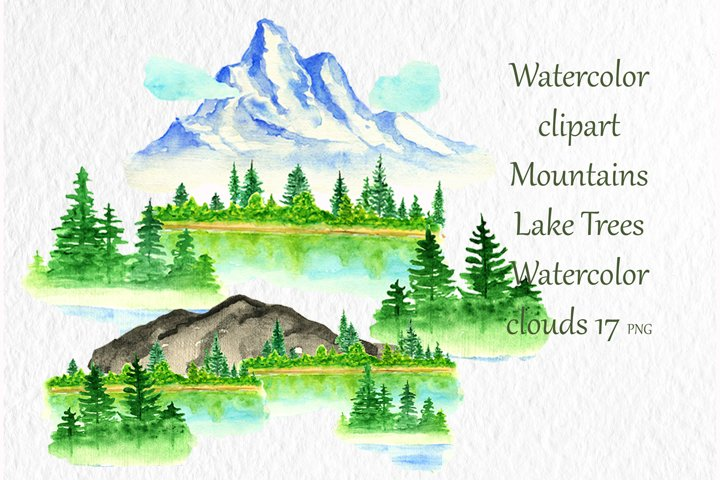 Watercolor clipart Mountains Lake Trees Watercolor clouds