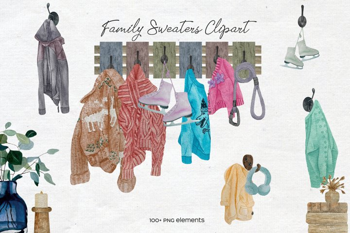 Watercolor Knitted Clothes On Hooks