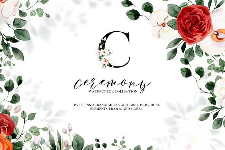 Ceremony floral collection, watercolor spring PNG cliparts