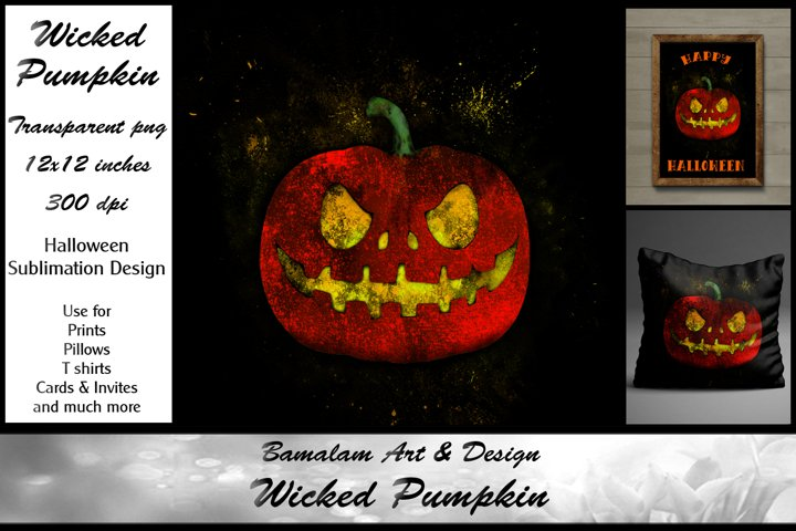 Wicked Pumpkin Halloween Sublimation Clipart