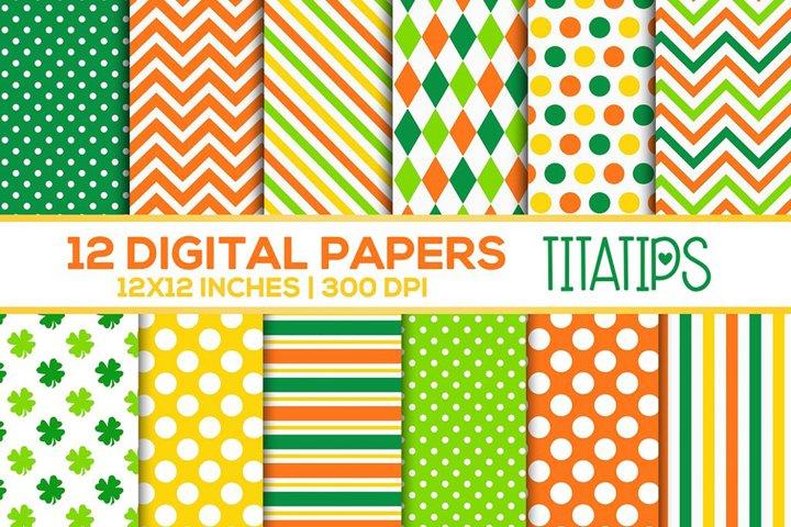 St. Patricks Day Digital Papers Set, Shamrock Patterns