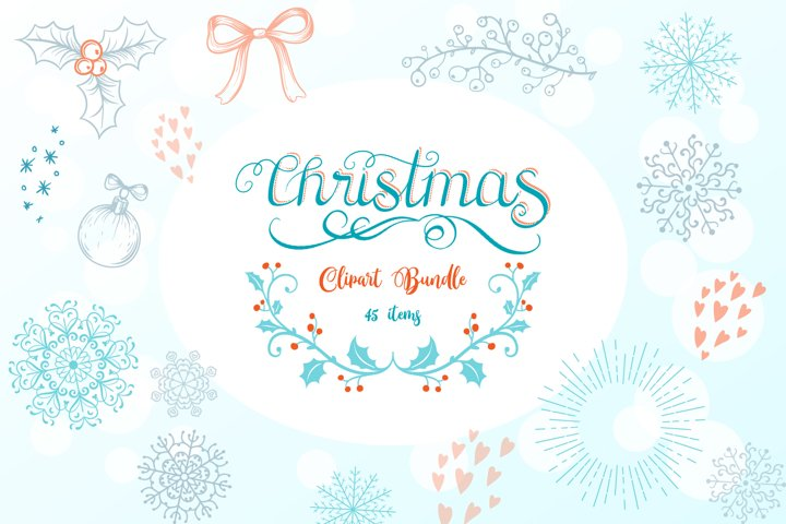 Christmas Clipart Bundle- 45 vector & PNG items