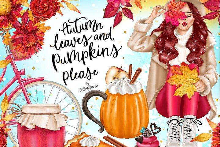 Fall Clipart, Autumn fashion Illustration