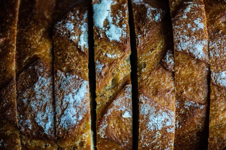 Night fermentation healthy bread sliced