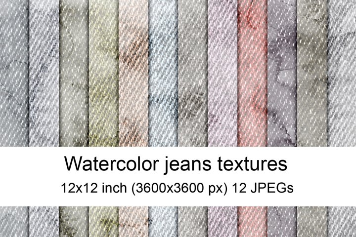 Watercolor jeans textures
