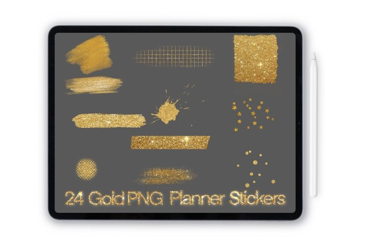 GoodNotes and digital planner Gold stickers